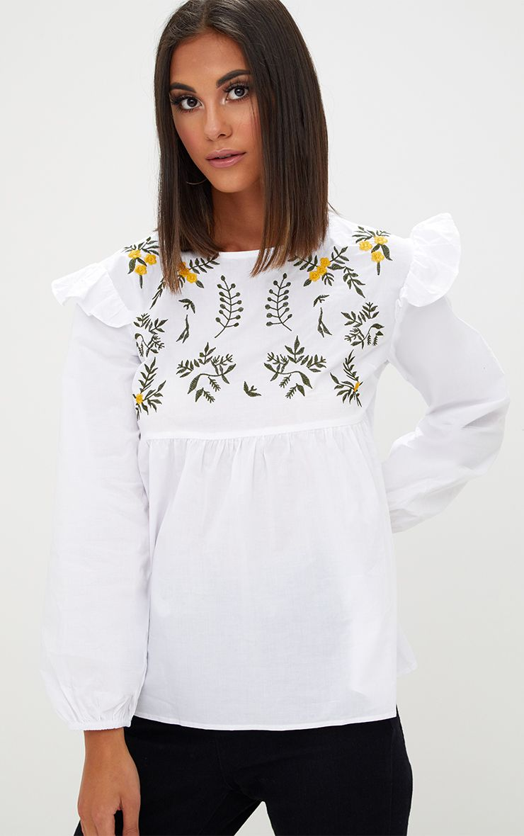 White Embroidered Frill Long Sleeve Shirt