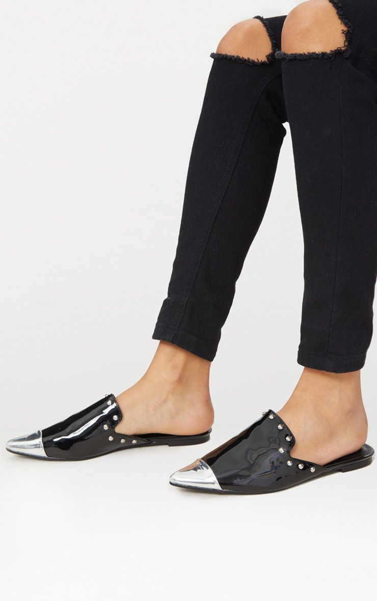 Black Studded Point Metal Toe Mule