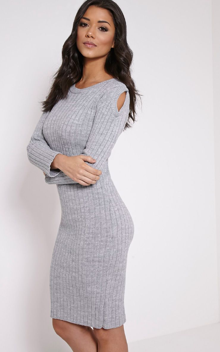 Paloma Grey Ribbed Cut Out Shoulder Knitted Dress 1