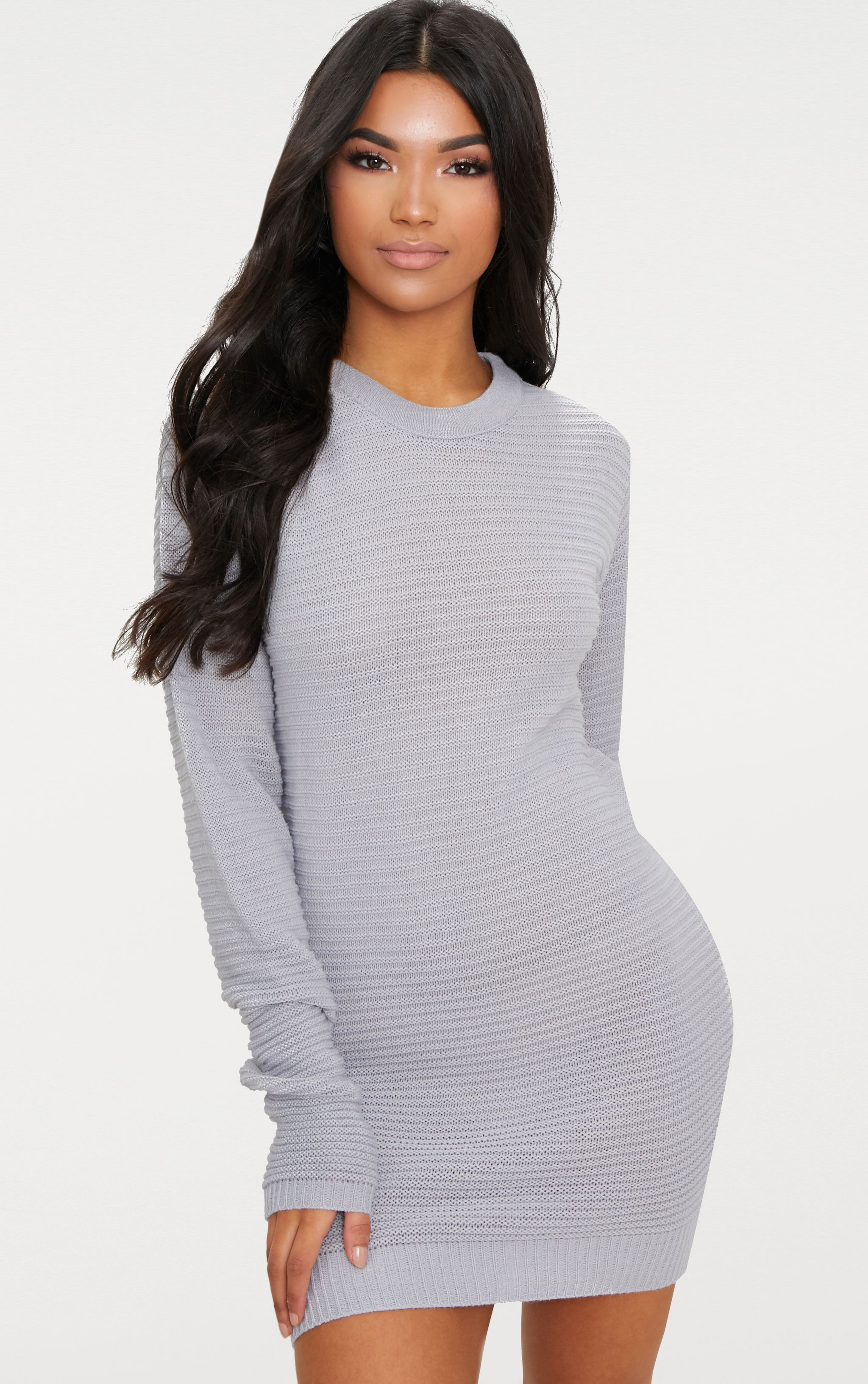 Grey Fine Knit Jumper Dress