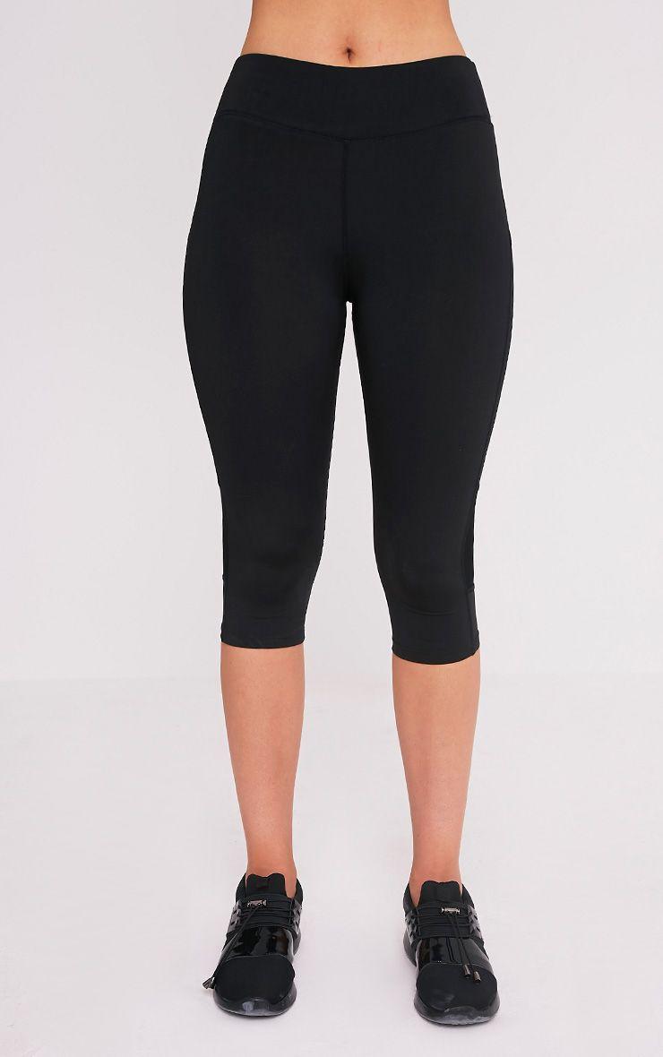 Miah legging de sport court à empiècements en tulle noir 2