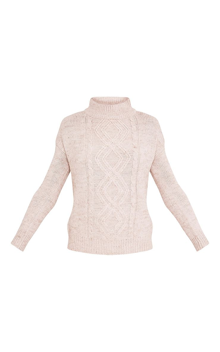Jodeanne Taupe Cable Knit Detail Turtle Neck Jumper 3