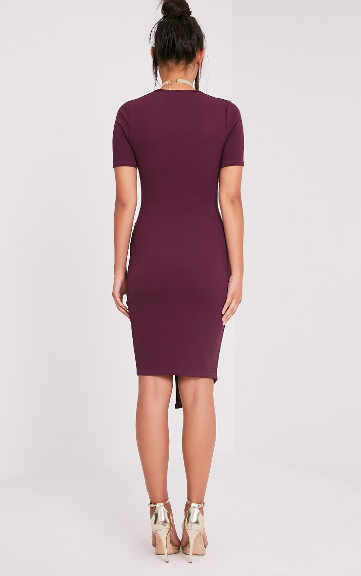 Ivie Aubergine Short Sleeve Wrap Front Midi Dress 2