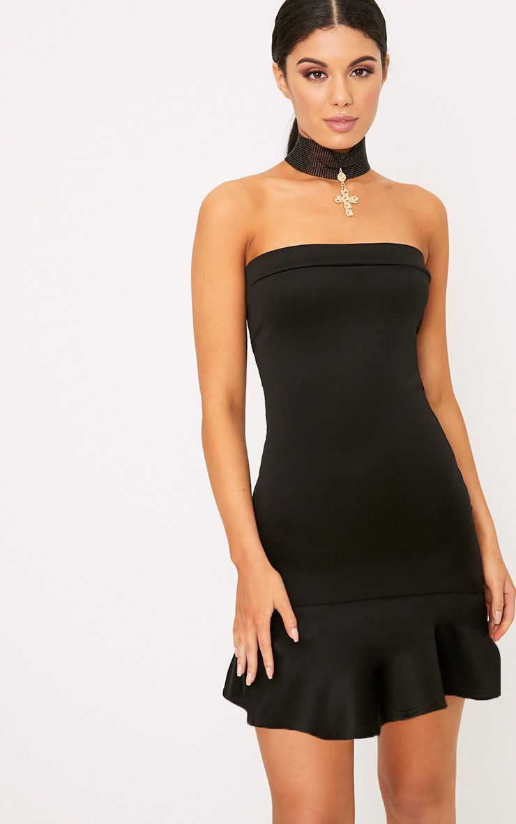 Amallia Black Bandeau Frill Hem Bodycon Dress