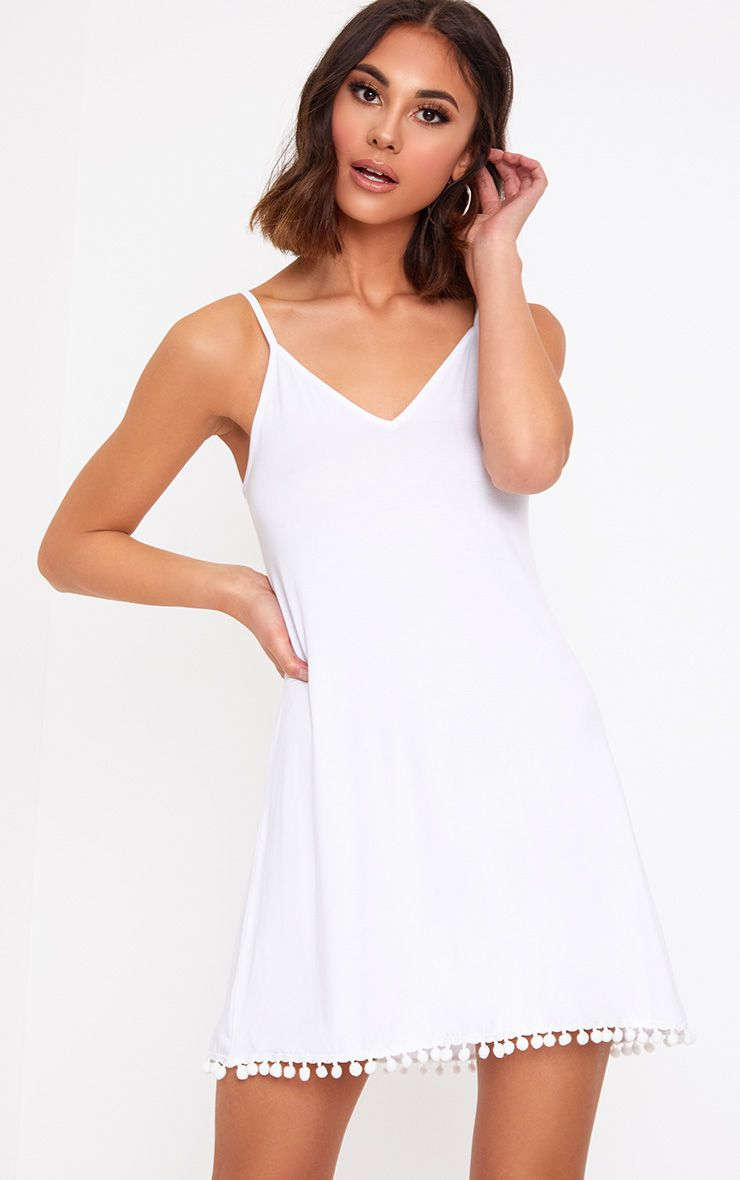 White Pom Pom Swing Dress