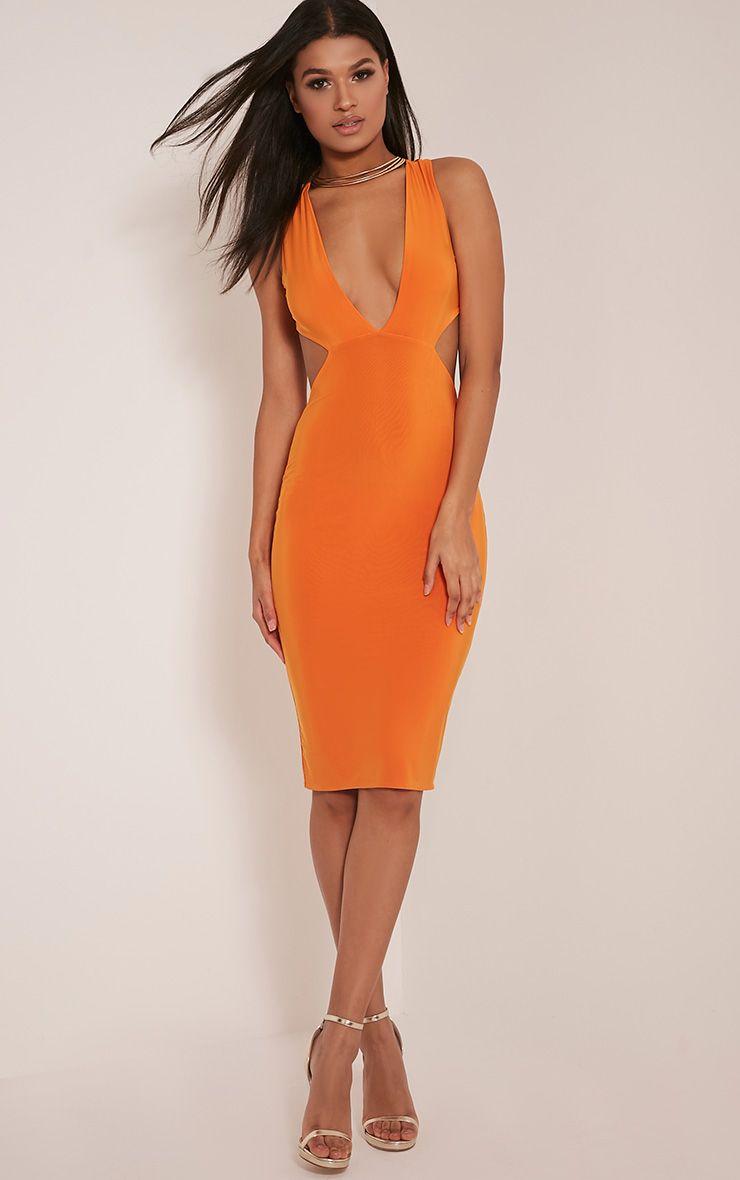 Biddy Bright Orange Deep V Plunge Cross Back Midi Dress 1