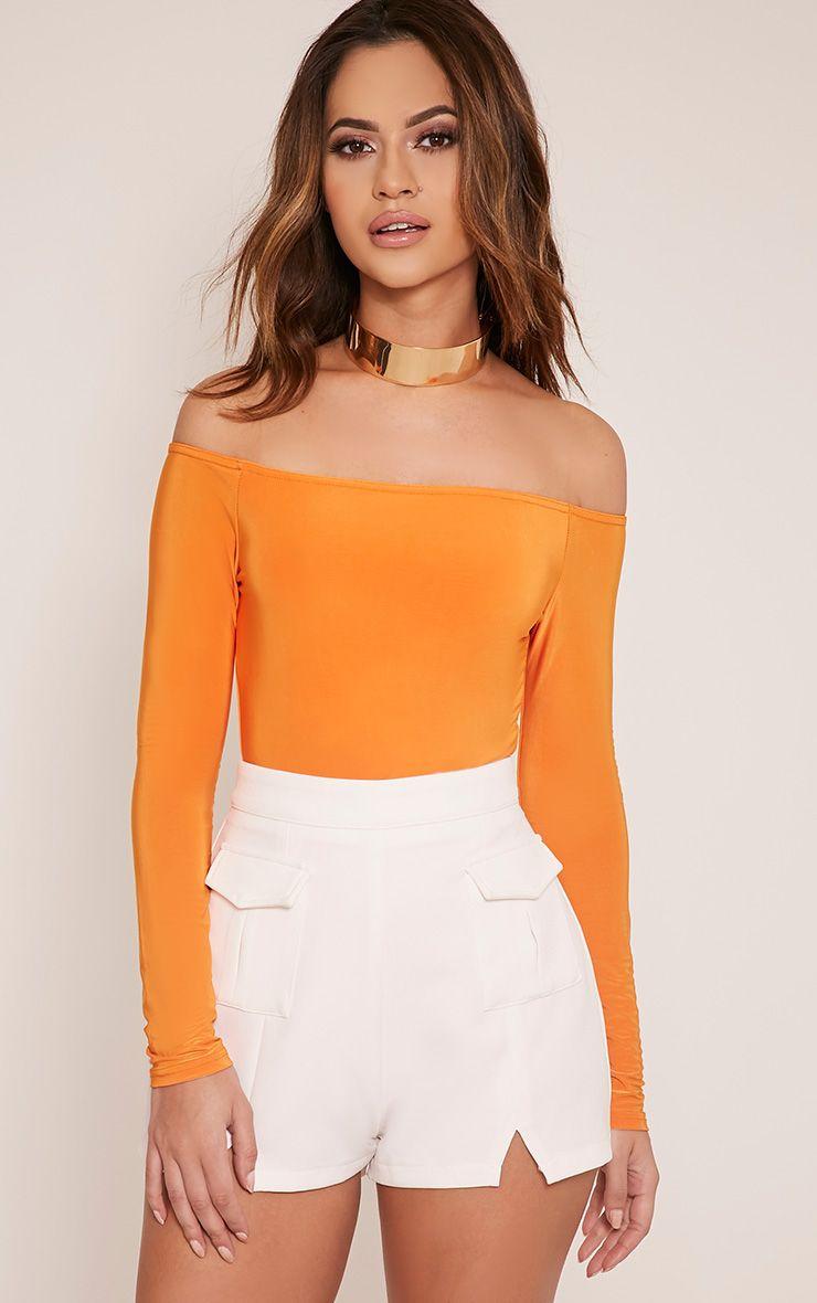 Rossalyn Bright Orange Slinky Bardot Bodysuit 1