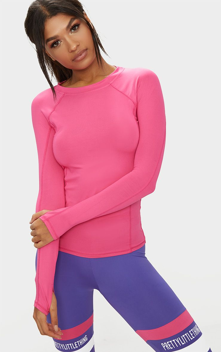 Pink Long Sleeve Gym Top