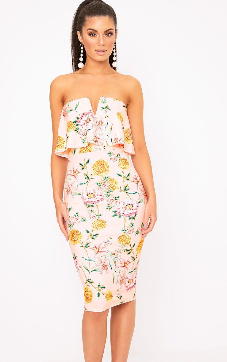 Norie Nude Floral Bandeau Midi Dress