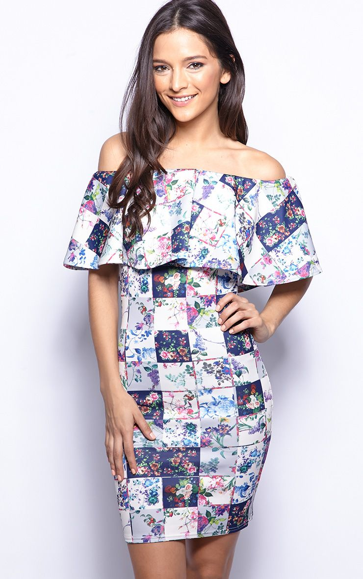Flora Blue Bardot Patchwork Print Dress 1