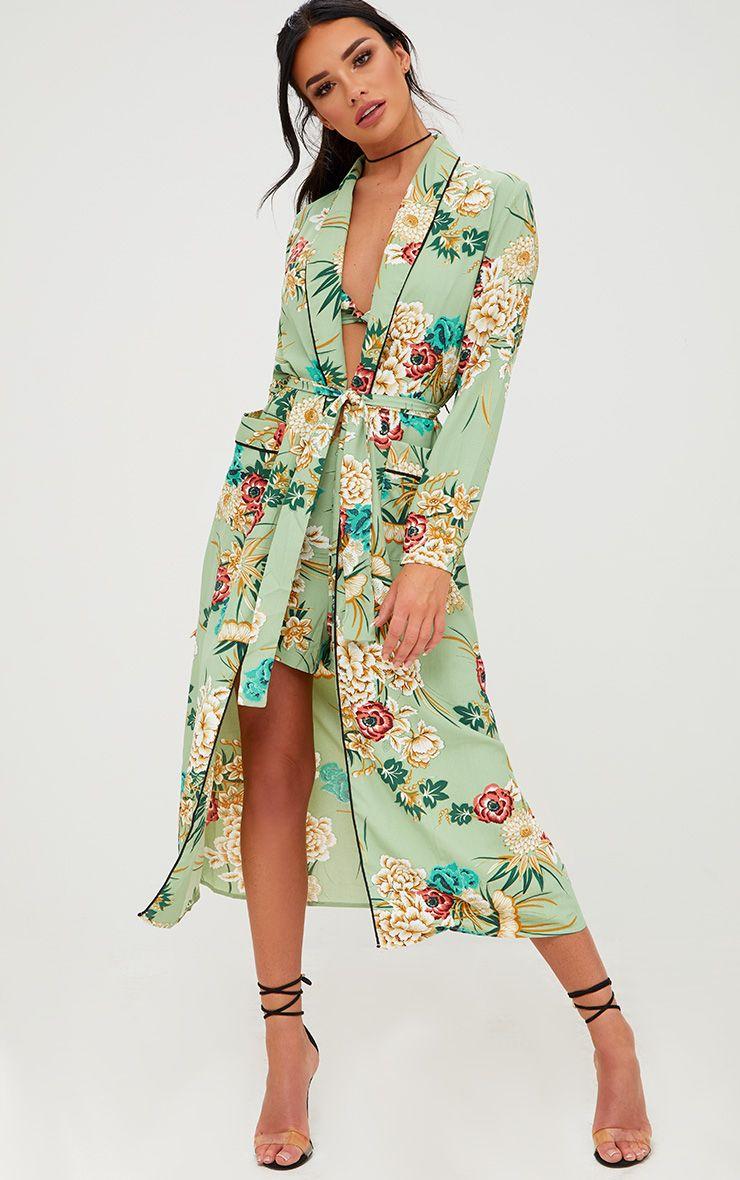 Sage Green Floral Maxi Kimono