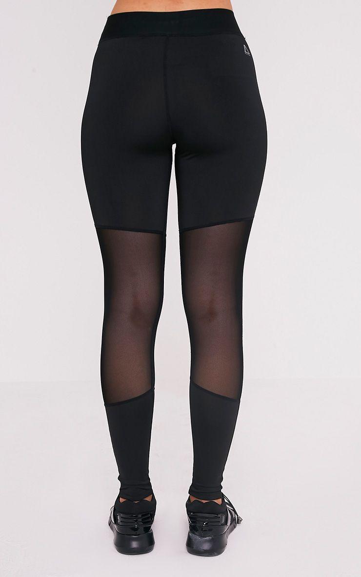 Leona Black Mesh Panelled Gym Leggings 5
