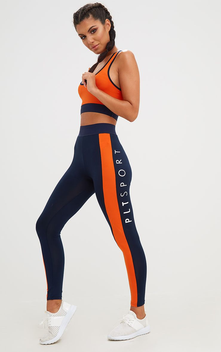 Navy Contrast Gym Leggings 1