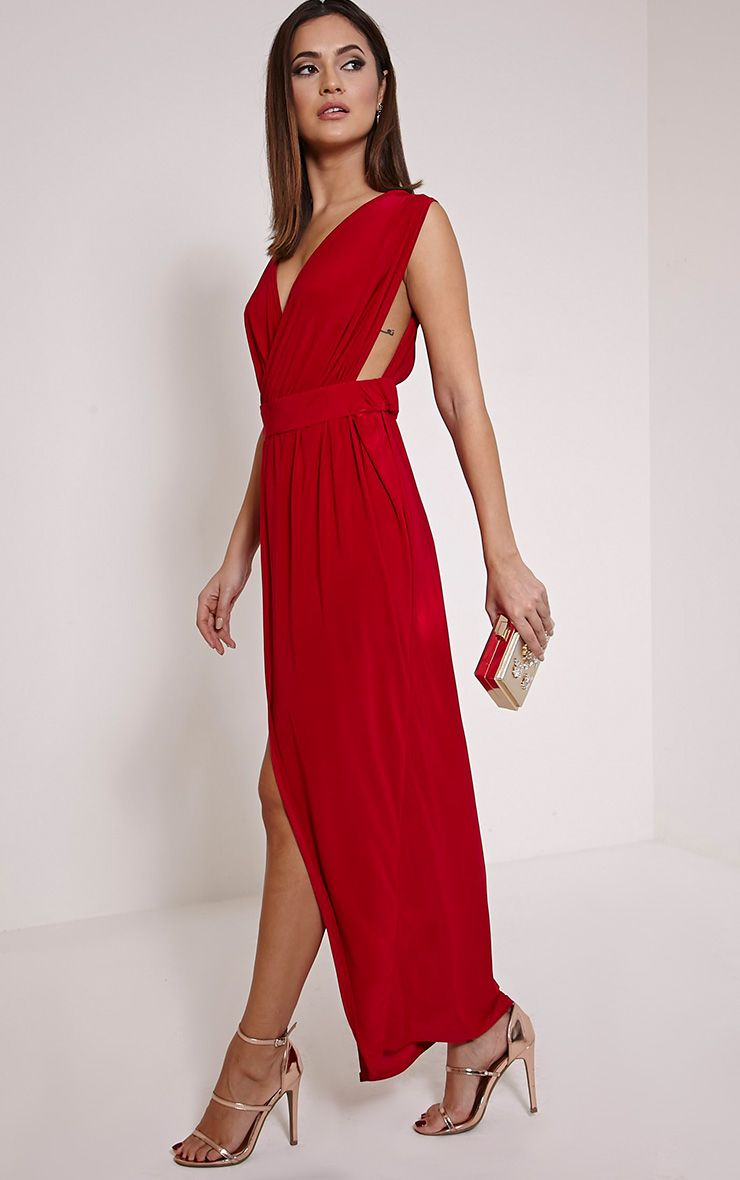 Marlisa Red Slinky Plunge Maxi Dress 1