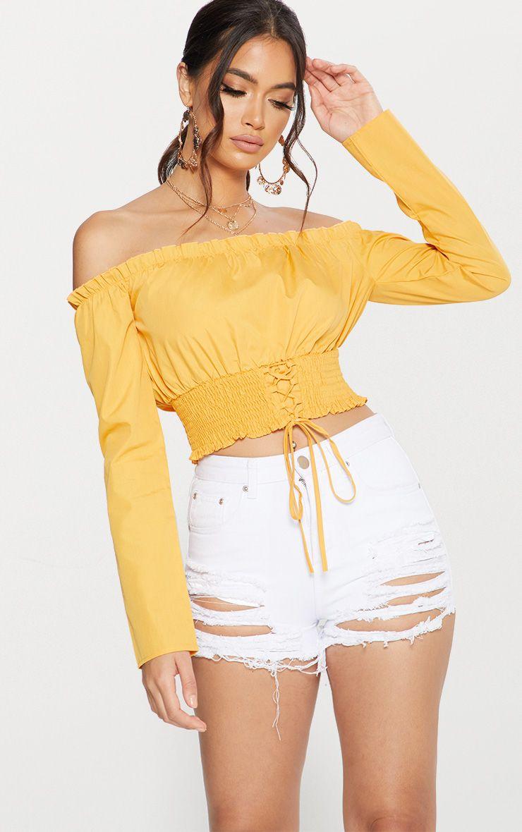 Mustard Lace Up Front Crinkle Waist Bardot Shirt