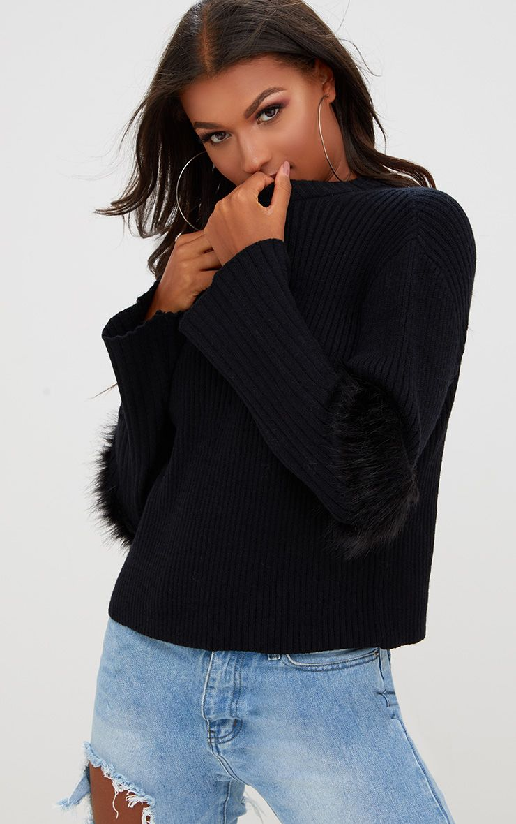 Black Faux Fur Sleeve Detail Jumper