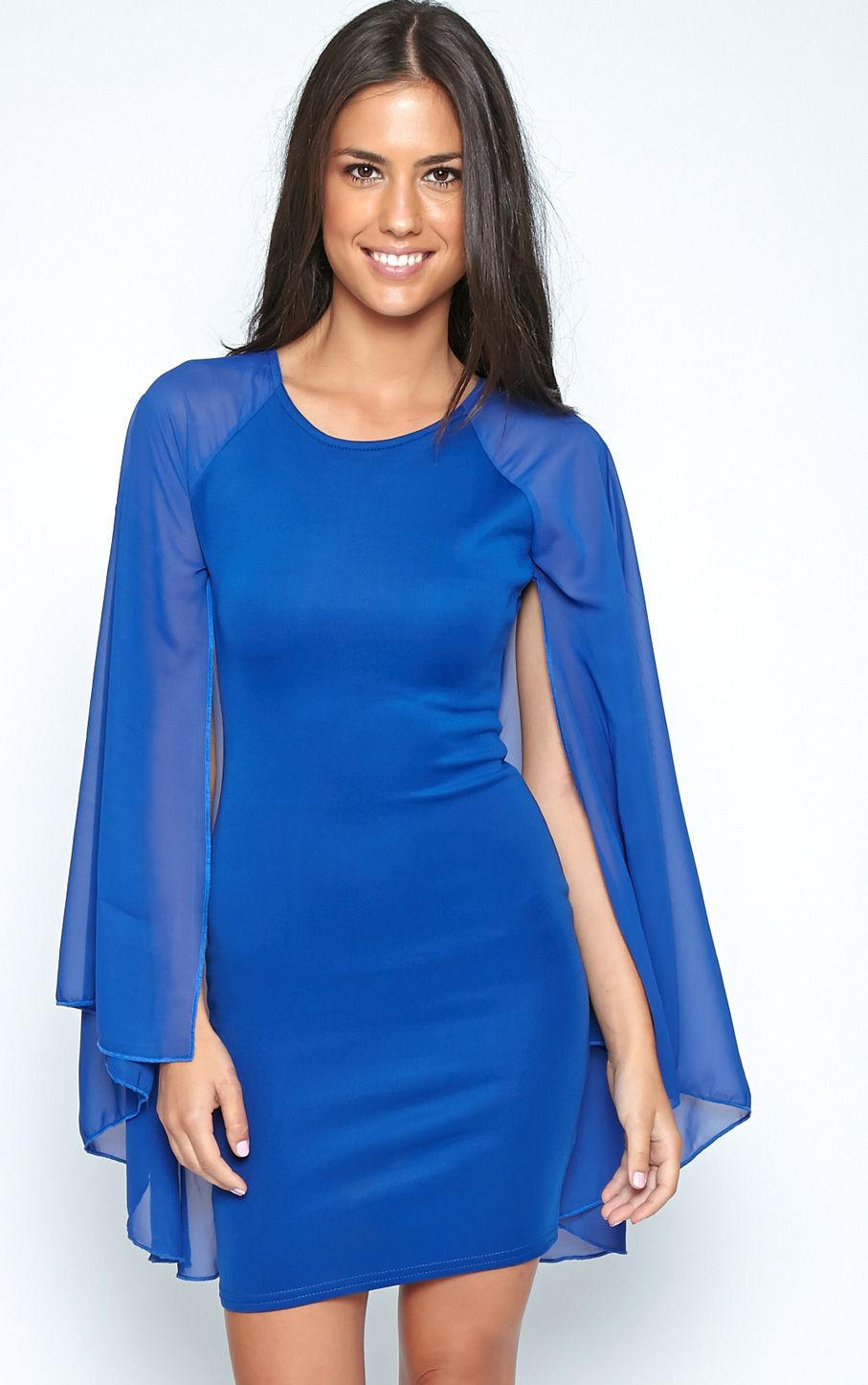Kayte Cobalt Bodycon Dress With Chiffon Batwing Sleeves 1
