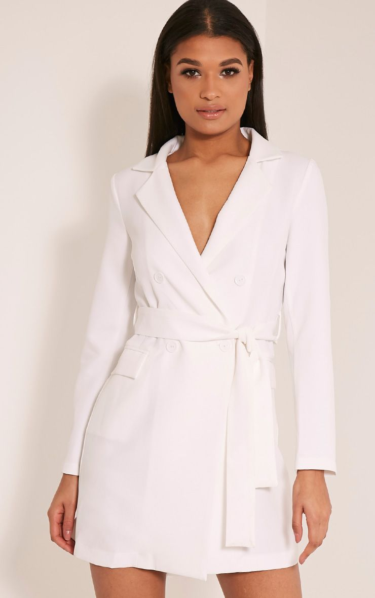 Monicah White Belted Blazer Dress 1