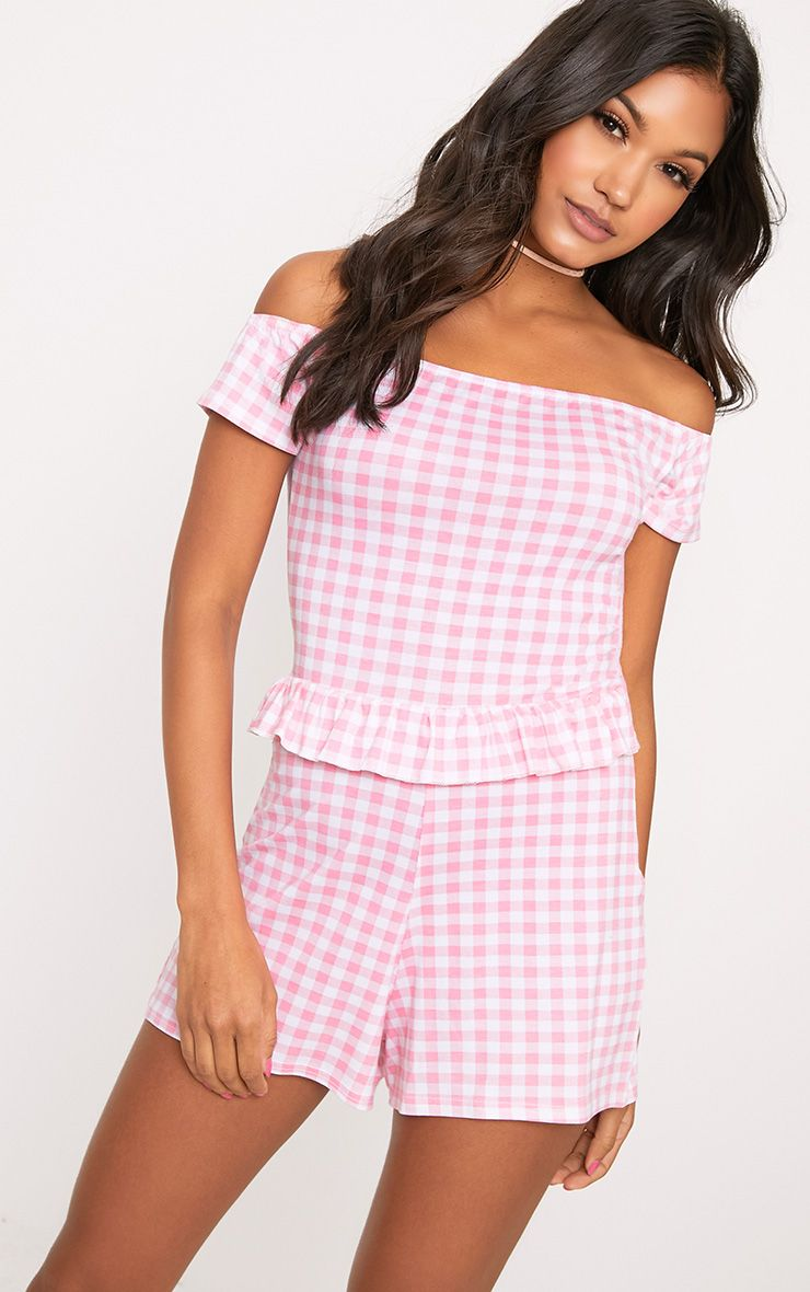 Pink Gingham Frill Middle Playsuit  1