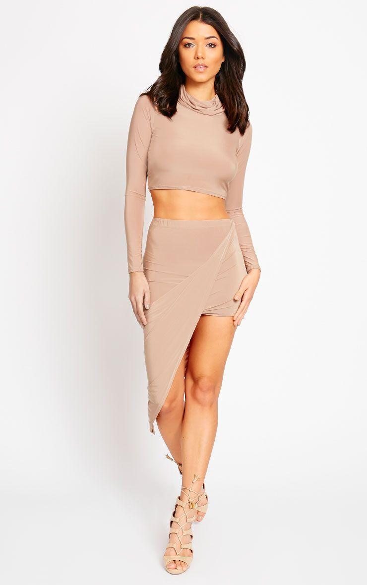 Alba Camel Slinky Drape Skirt 1