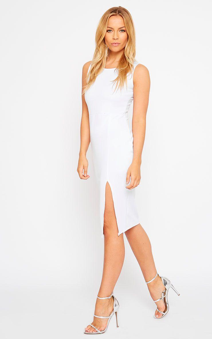 Holly White Thigh Split Midi Dress 1