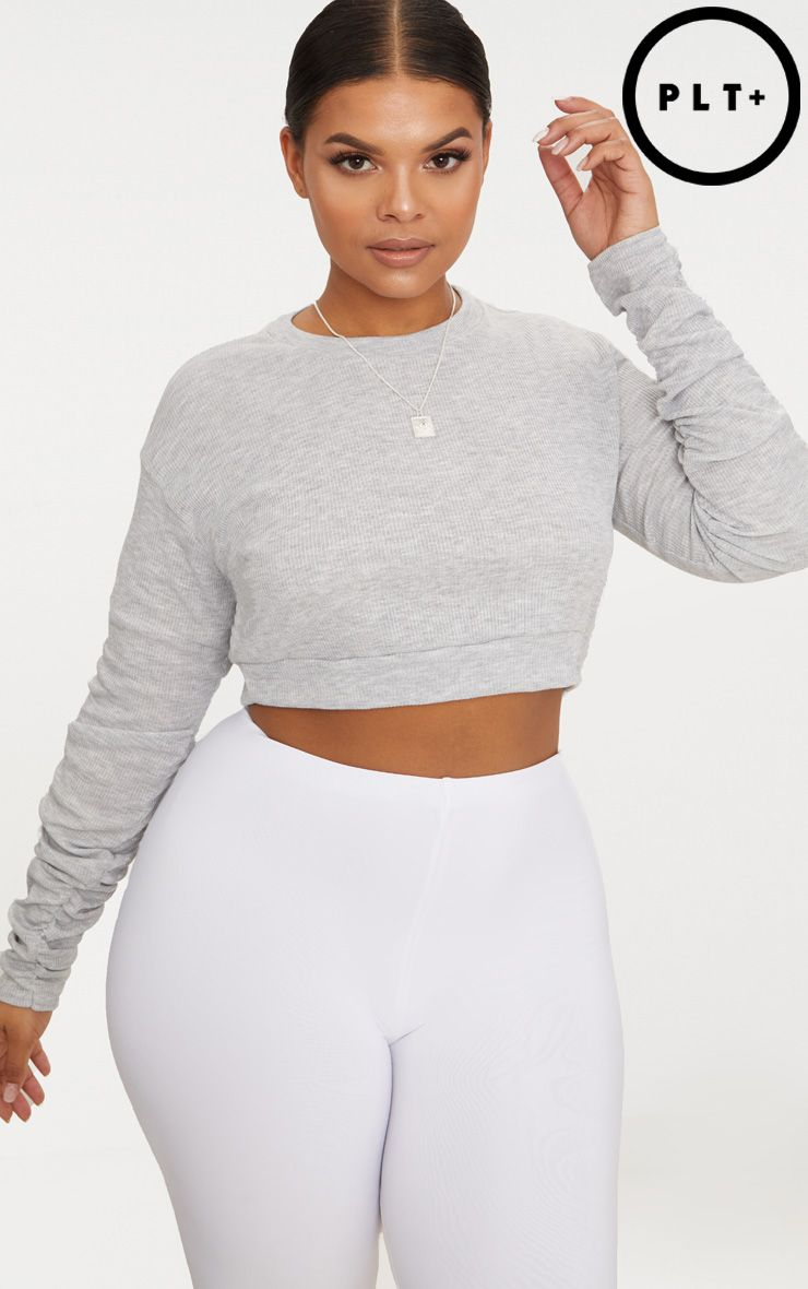 Plus Grey Marl Ribbed Ruched Sleeve Crop Top