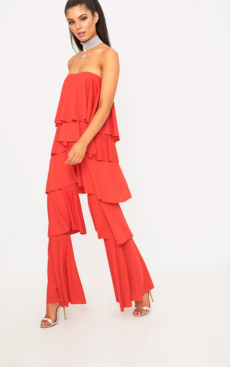 Red Bardot Frill Layer Detail Jumpsuit