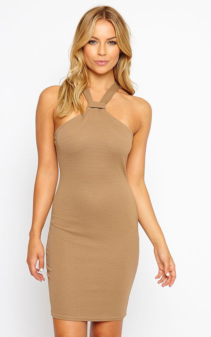 Nixie Camel V Strap Mini Dress 1