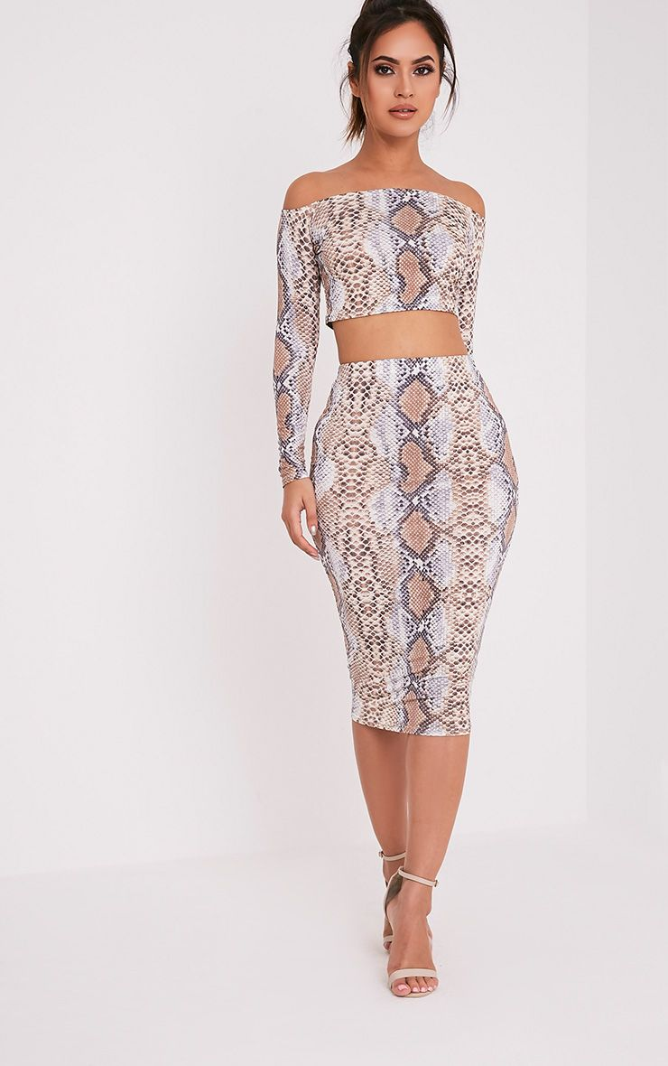 Rhonda Taupe Snakeprint Midi Skirt 1
