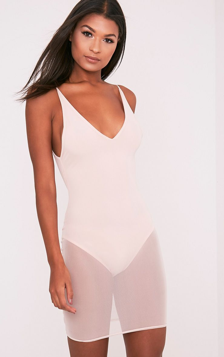 Kyiah Nude Mesh Overlay Bodycon Dress