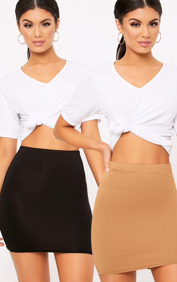 Basic Black & Camel Jersey Mini Skirt 2 Pack