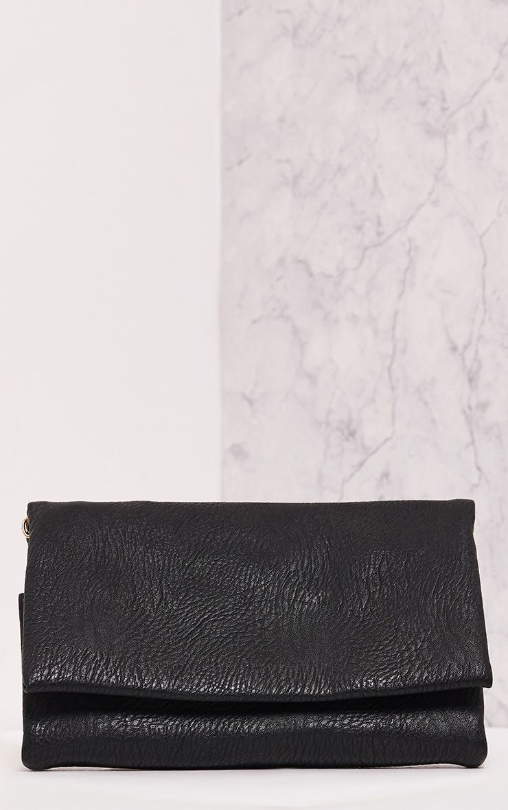 Polina Black Fold Over Clutch