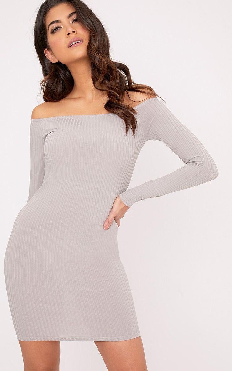 Fionah Ice Grey Ribbed Bardot Bodycon Dress