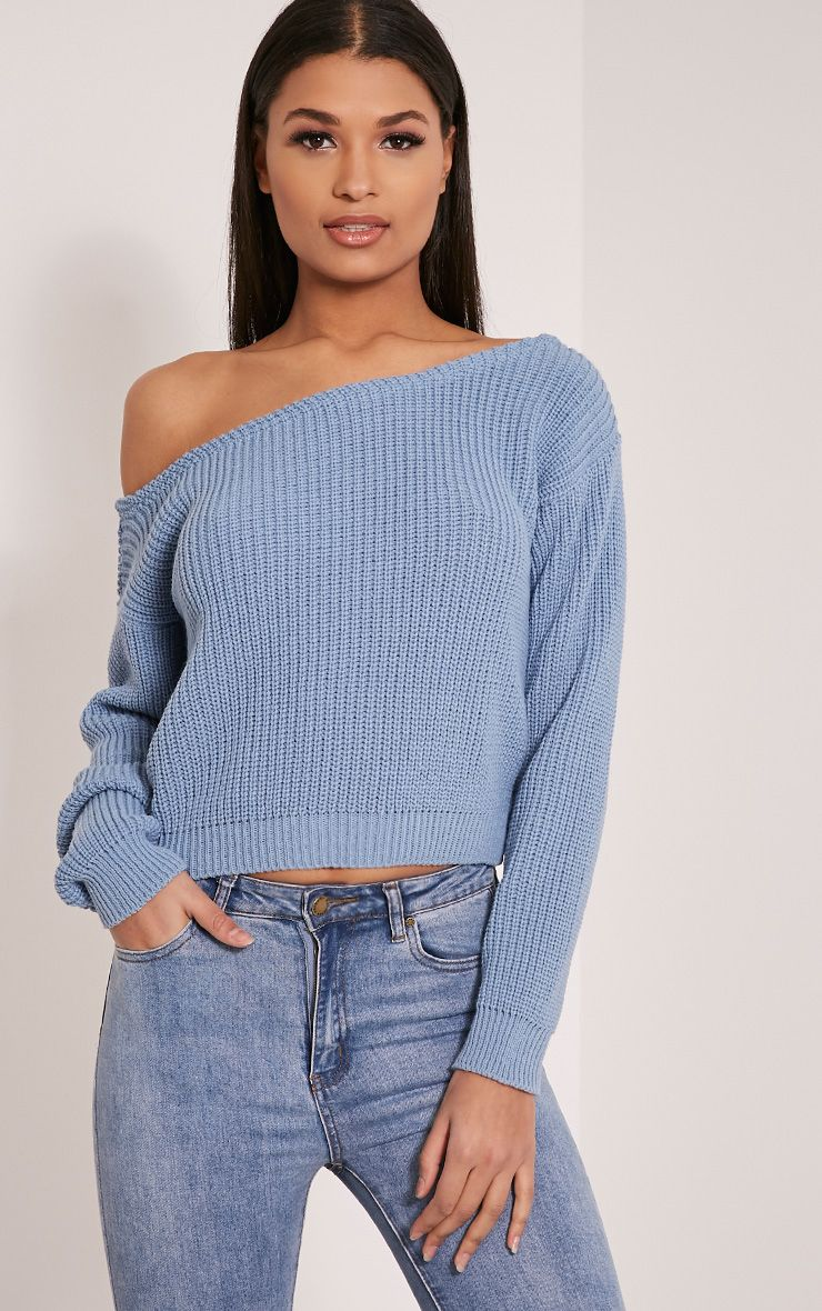 Dusty Blue Off The Shoulder Crop Jumper 1
