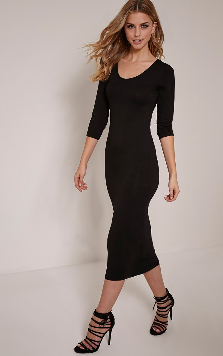 Basic Black 3/4 Sleeve Midi Dress 1