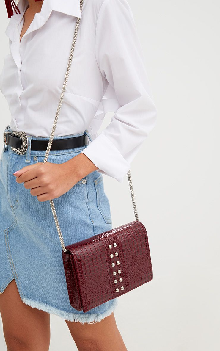 Burgundy Snakeskin Studded Shoulder Bag
