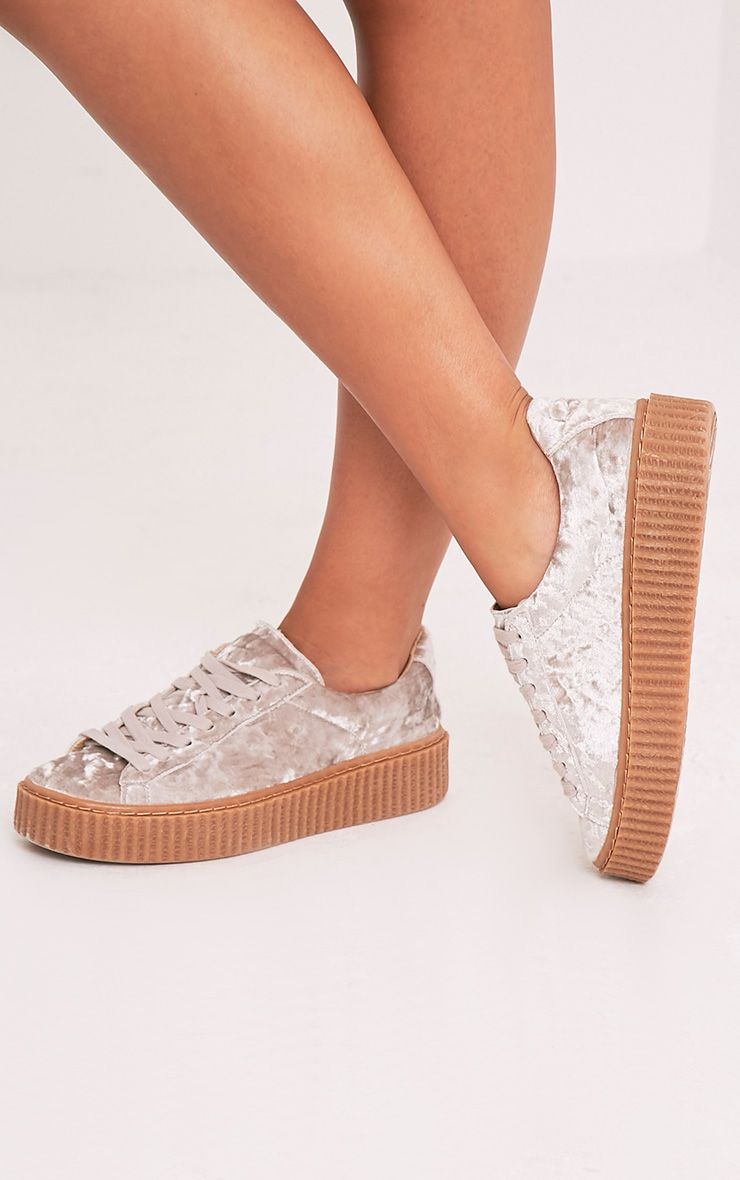 Anahita Champagne Crushed Velvet Creeper Trainers