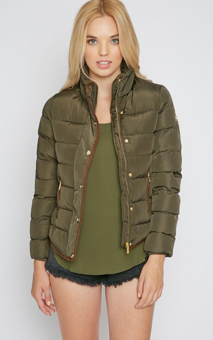 Jenny Khaki Quilted Jacket  1