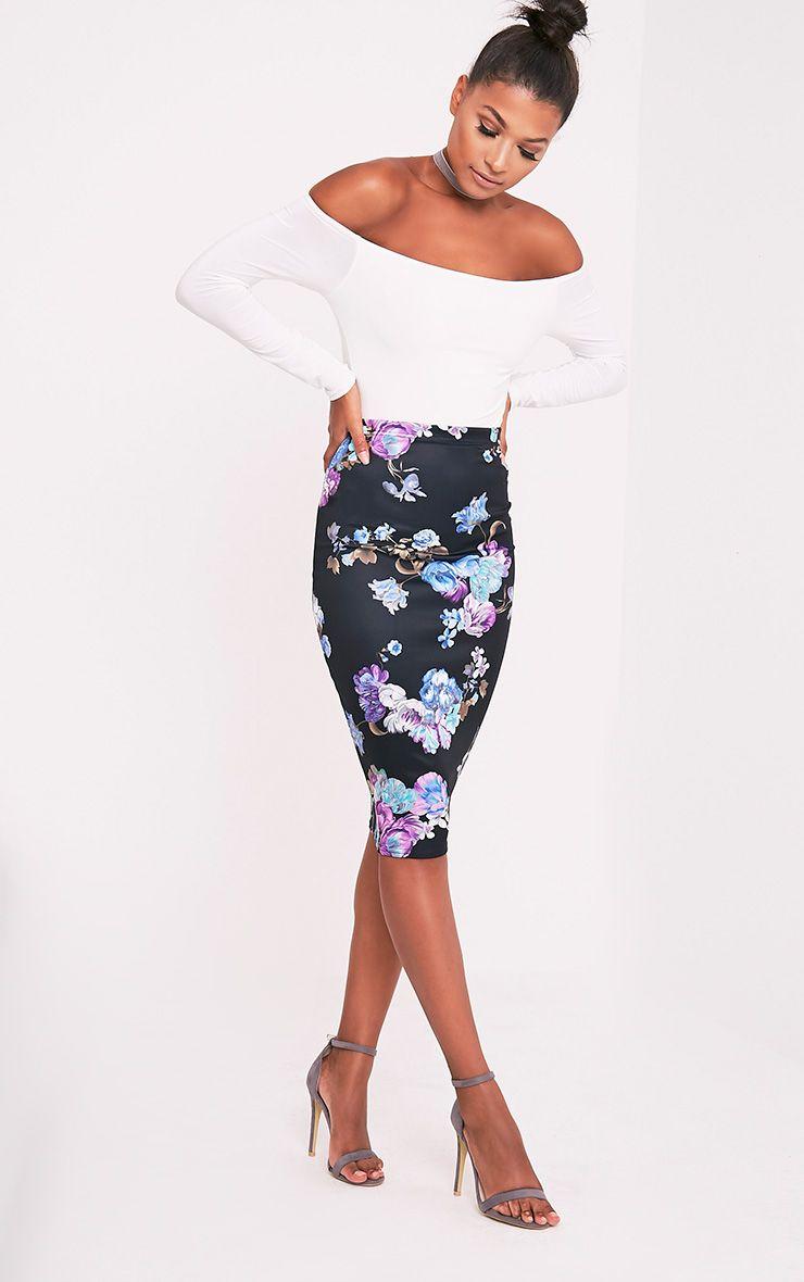 Francesca Blue Floral Print Midi Skirt 1
