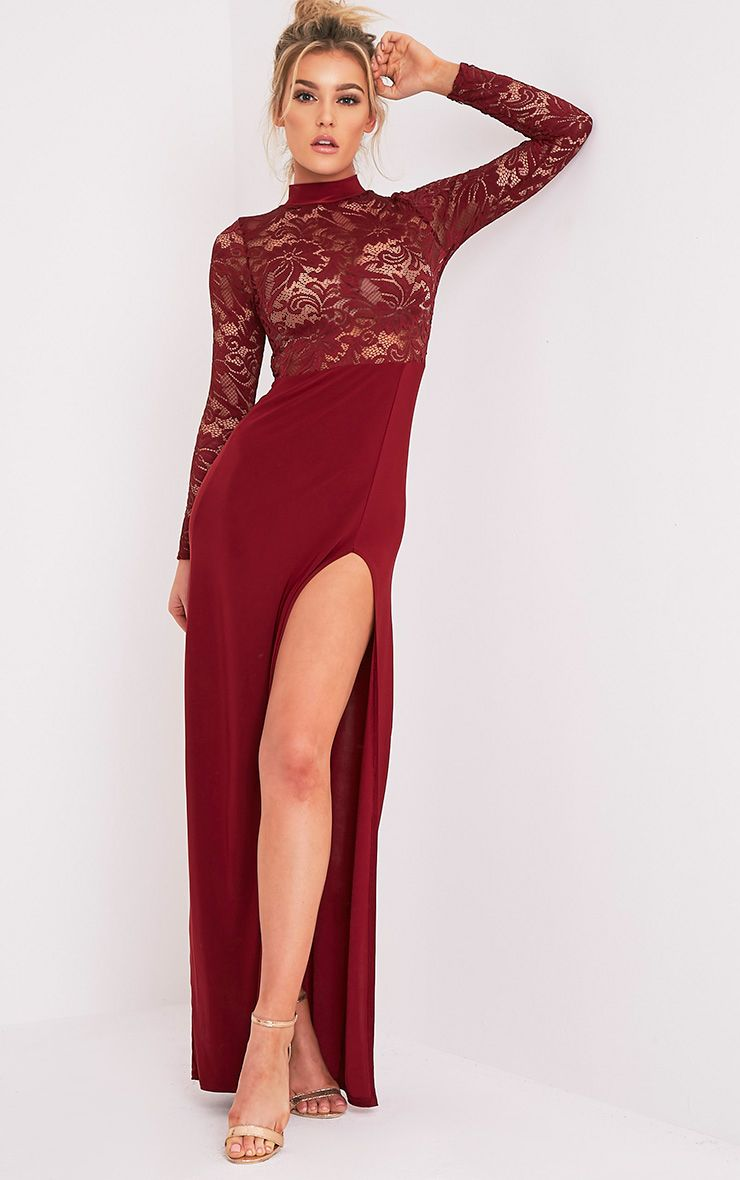 Maisie Oxblood Lace Top Split Side Maxi Dress