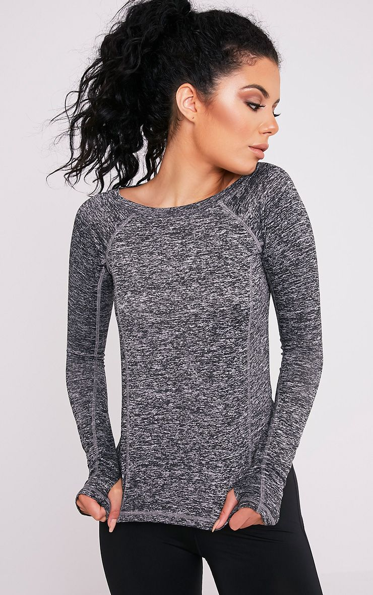 Sania Black Long Sleeve Gym Top