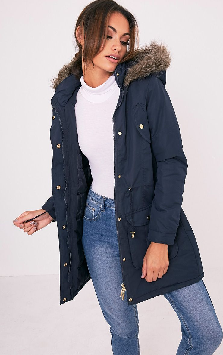 Abra Navy Faux Fur Trim Hooded Parka