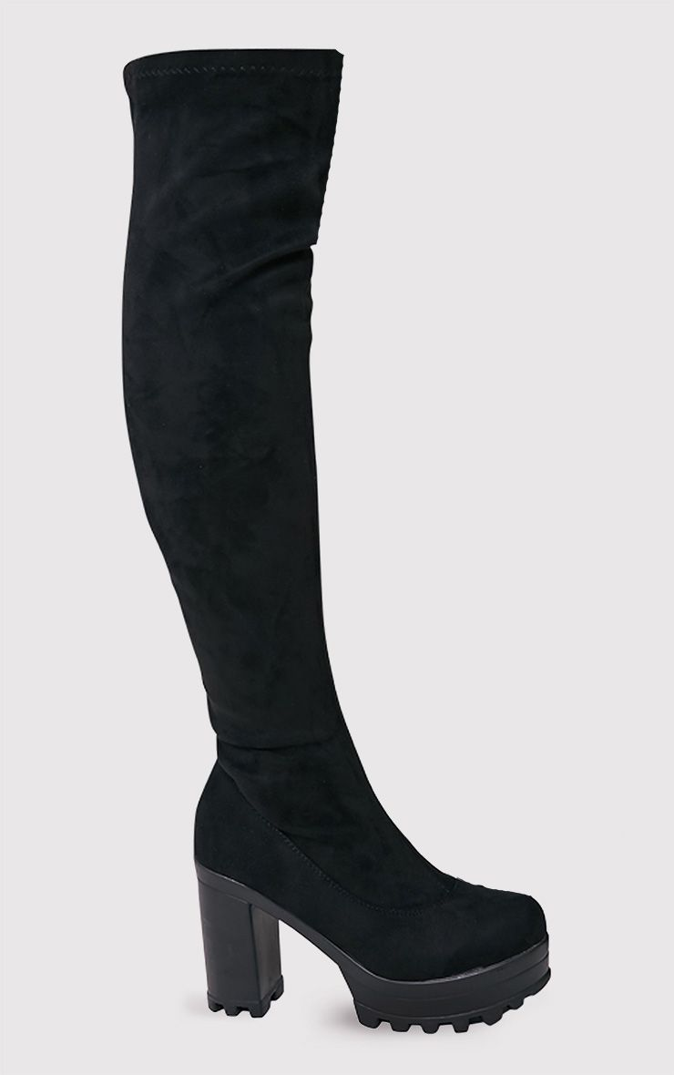 Kymberly Black Platform Cleated Sole Knee High Boots