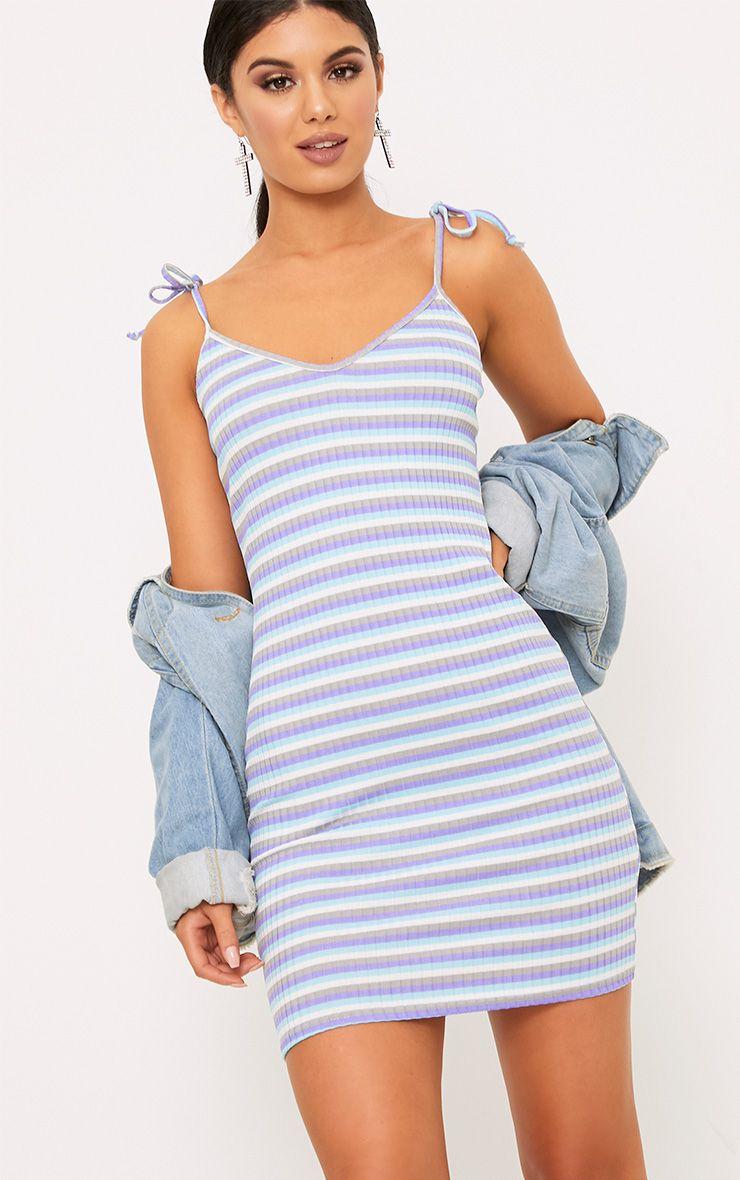 Courtni Lilac Ribbed Striped Tie Sleeve Bodycon Dress  1