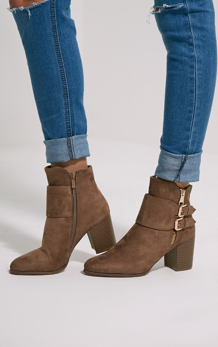 Alma Taupe Suede Buckle Detail Heeled Boots 1