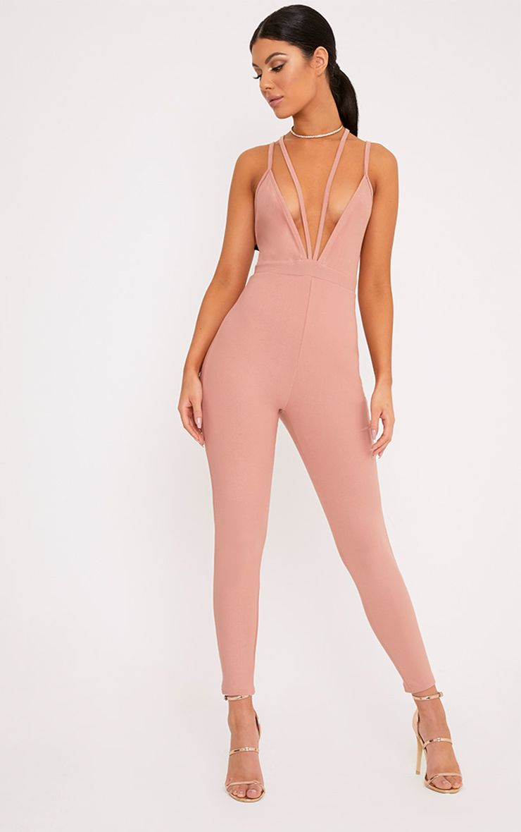 Fenna Dusty Coral Harness Crepe Jumpsuit  1