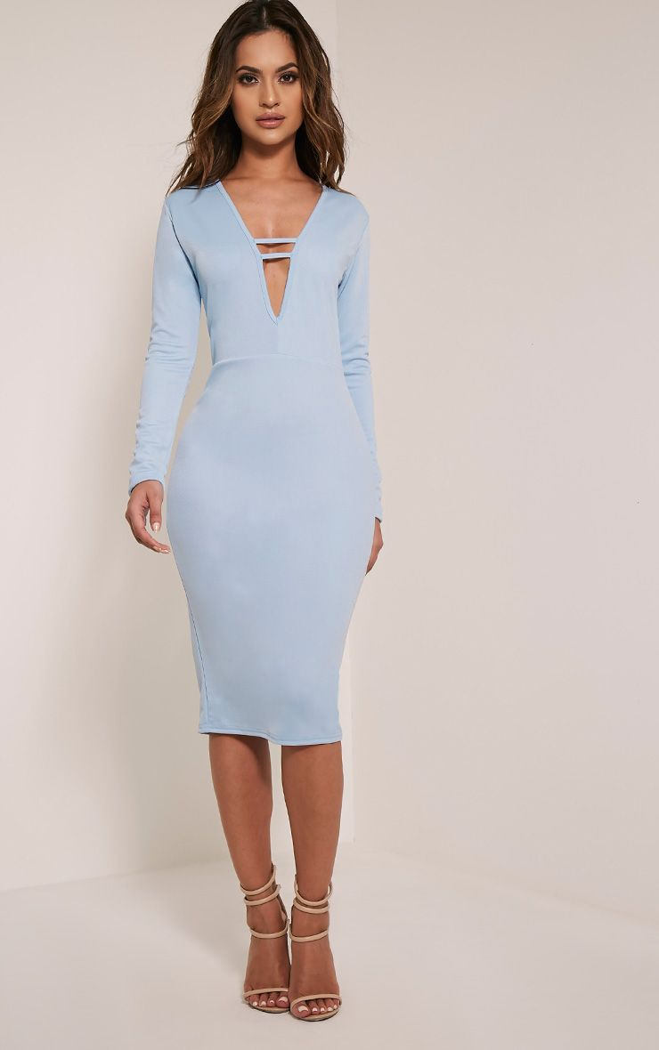 Arya Dusty Blue Strap Detail Plunge Midi Dress 1