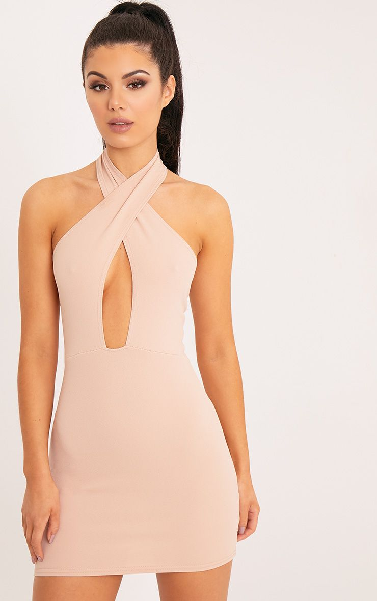 Wendina Nude Cross Front Crepe Bodycon Dress