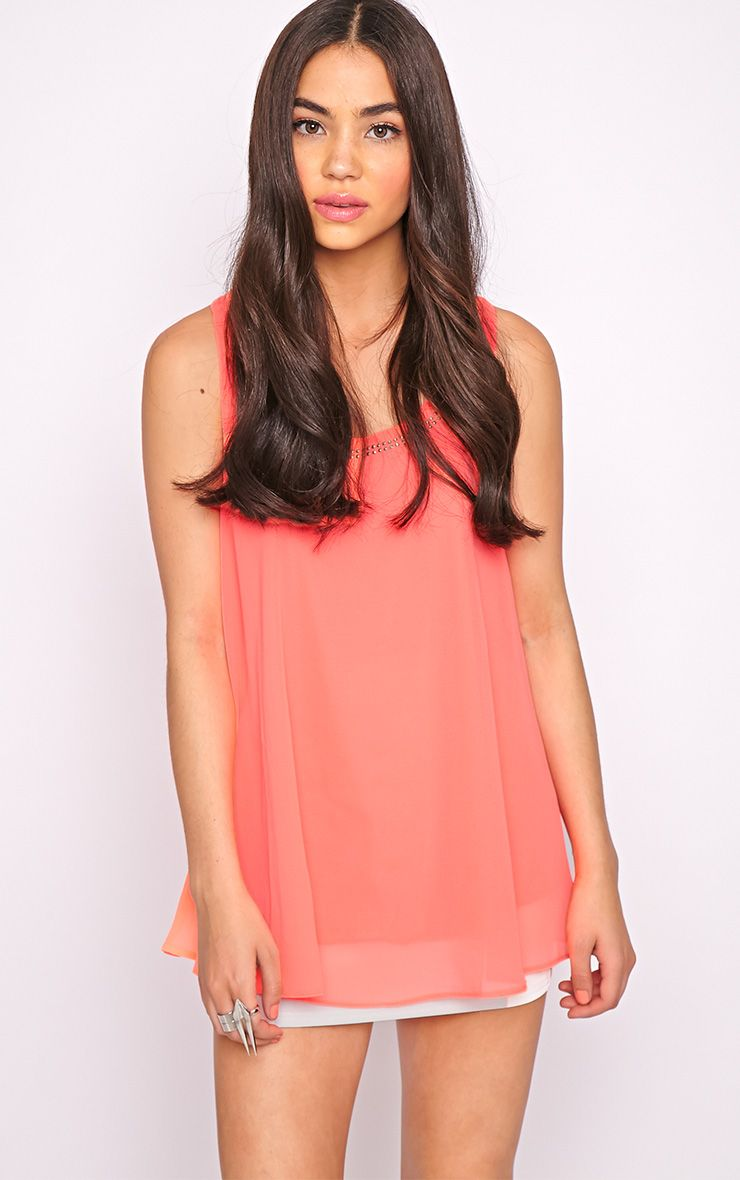 Lizzy Coral Studded Swing Vest  1
