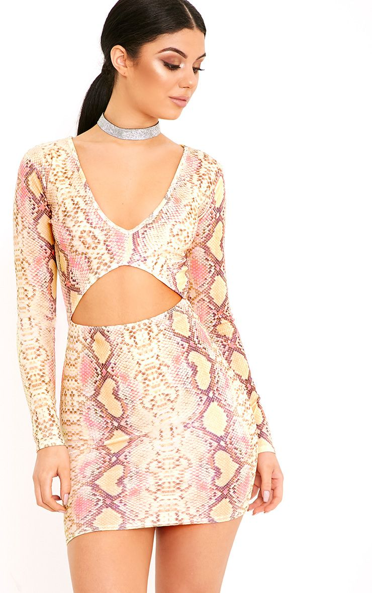 Elsiah Yellow Snake Print Cut Out Bodycon Dress